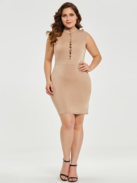 Ericdress Plus Size Above Knee Sleeveless Bodycon Plain Dress