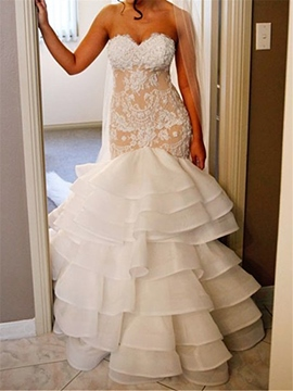 Ericdress Sweetheart Appliques Mermaid Wedding Dress