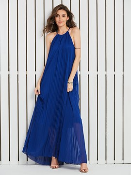 Ericdress Spaghetti Strap Expansion Pleated Women's Maxi Dress