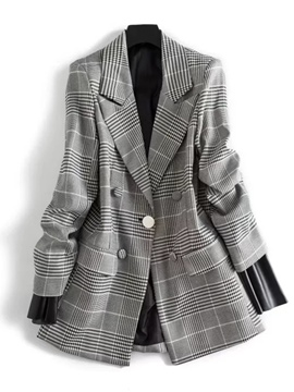 Ericdress Slim Plaid Mid-Length Blazer
