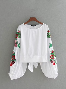 Ericdress Loose Floral Embroidery Blouse