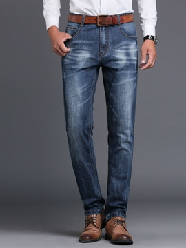 Ericdress Pleated Worn Straight Men's Jeans