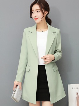 ericdress plain hidden button mittellanger ol blazer