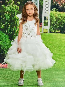 Ericdress Ball Gown Tulle Tea Length Flower Girl Dress