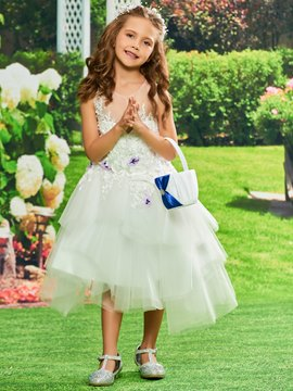 Ericdress Appliques Ball Gown Tulle Tea Length Flower Girl Dress