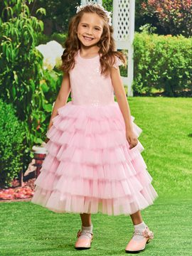Ericdress Sequins Ball Gown Tea Length Flower Girl Party Dress