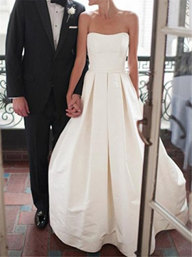 Bowknot A-Line Floor-Length Sleeveless Hall Wedding Dress