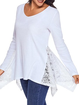 Ericdress V-Neck Lace Mid-Length T-shirt