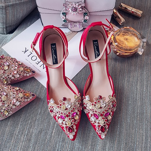 Ericdress Gorgeous Rhinestone Pointed Toe Stiletto Heel Women's Shoes