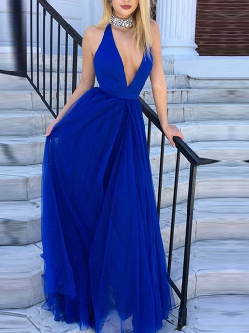 Ericdress A Line Beaded Halter Deep V Neck Long Evening Dress 2019