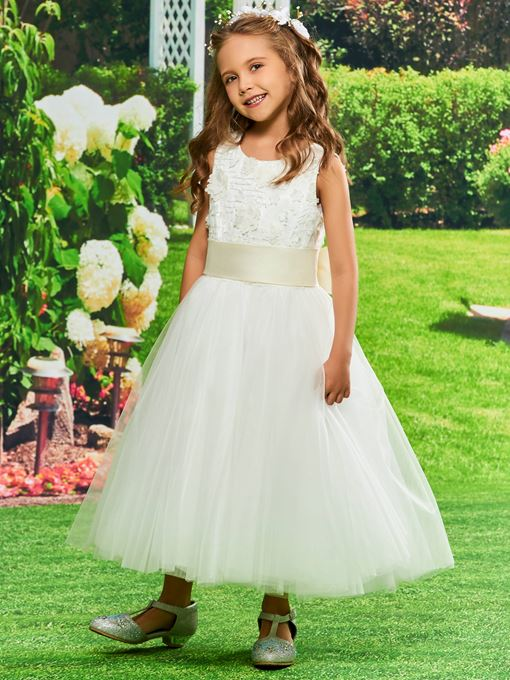 Ericdress Bowknot Lace Tea Length Flower Girl Dress