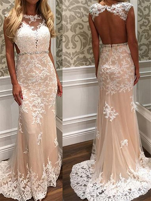 Ericdress Backless Sheath Beading Appliques Wedding Dress