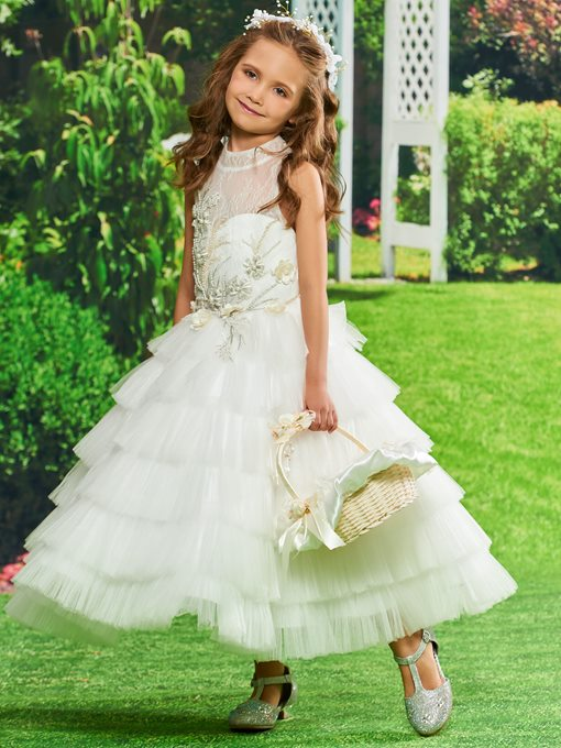 Ericdress Appliques Tulle Ball Gown Flower Girl Dress