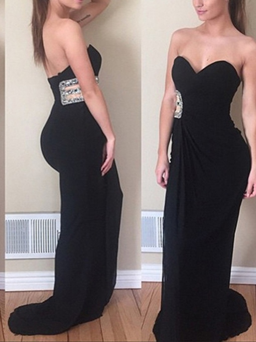 Ericdress Sheath Sweetheart Beaded Long Evening Dress 2019