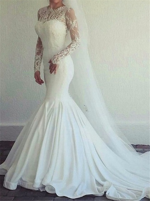 Ericdress Jewel Neck Long Sleeves Mermaid Lace Wedding Dress