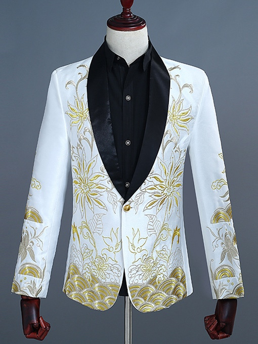 Ericdress Floral One Button Embroidery Mens Blazers