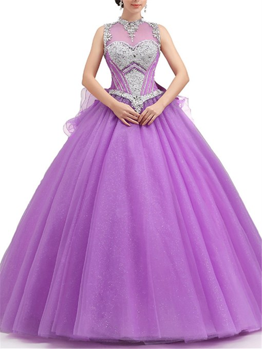Charming Jewel Neck Bowknot Ball Gown Quinceanera Dress