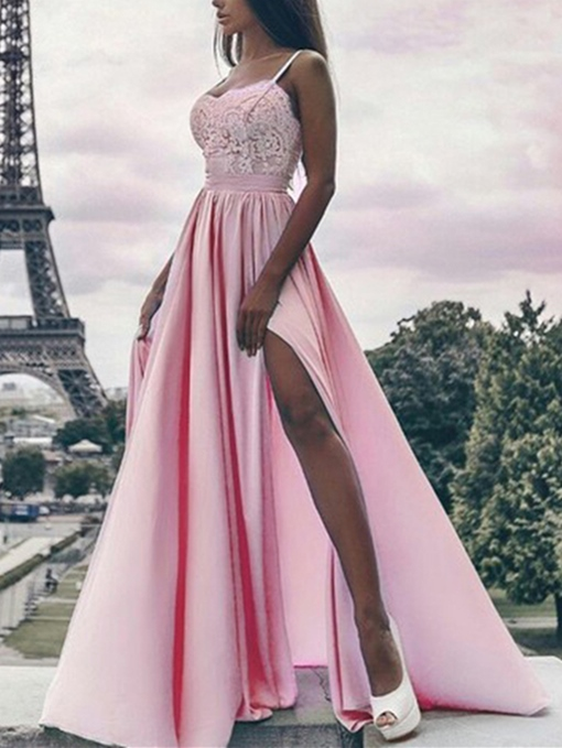 Ericdress A-Line Lace Spaghetti Straps Floor-Length Evening Dress