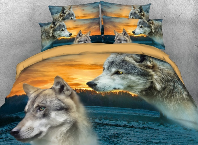 Vivilinen 3D Two Wolves beside the River Printed 4-Piece Bedding Sets/Duvet Covers