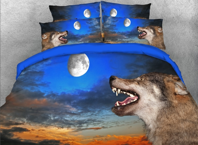 Vivilinen 3D Wolf with Opening mouth under Moonlight Printed 4-Piece Bedding Sets/Duvet Covers