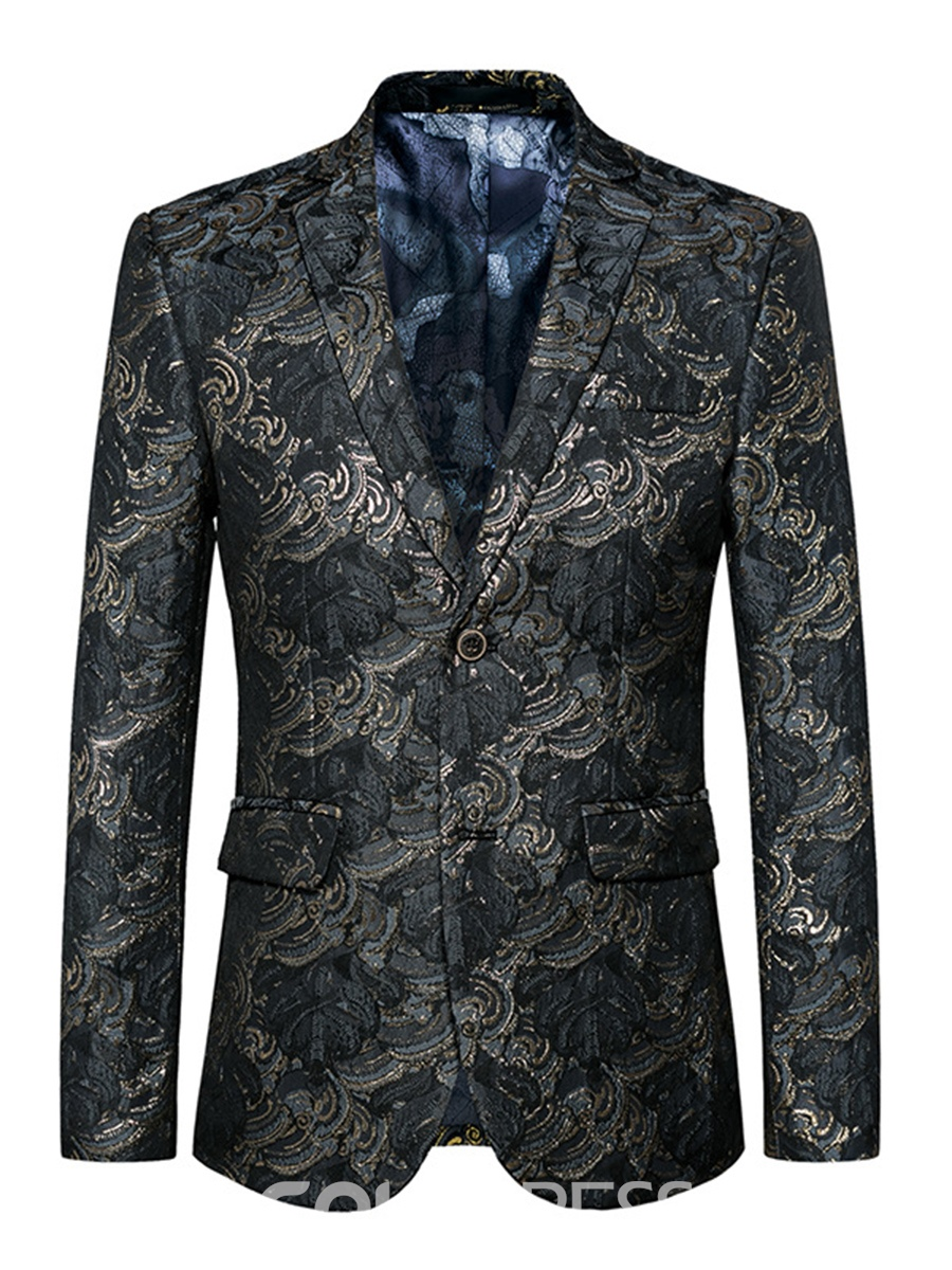 Image of Ericdress Notched Lapel jacquard Mens Blazer