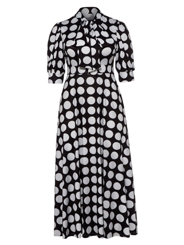 Ericdress Lantern Sleeve Polka Dots Color Block Bowknot Plus Maxi Dress