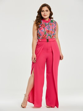 Women's Clothing Wide Leg Floral Embroidery Jumpsuit