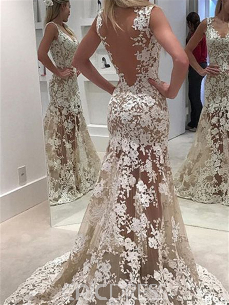 Ericdress Sexy Appliques Sheath Backless Wedding Dress