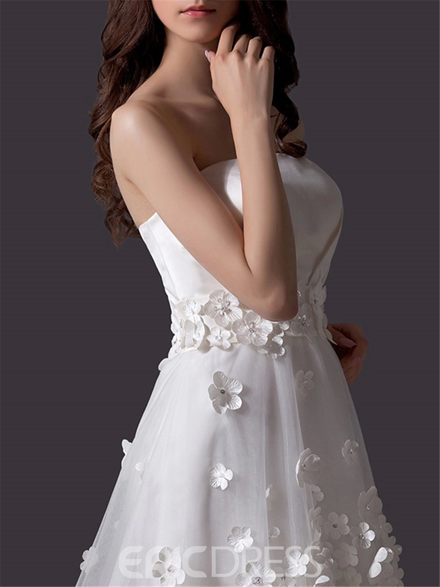 A-Line Strapless Flowers Asymmetry Charming Wedding Dress