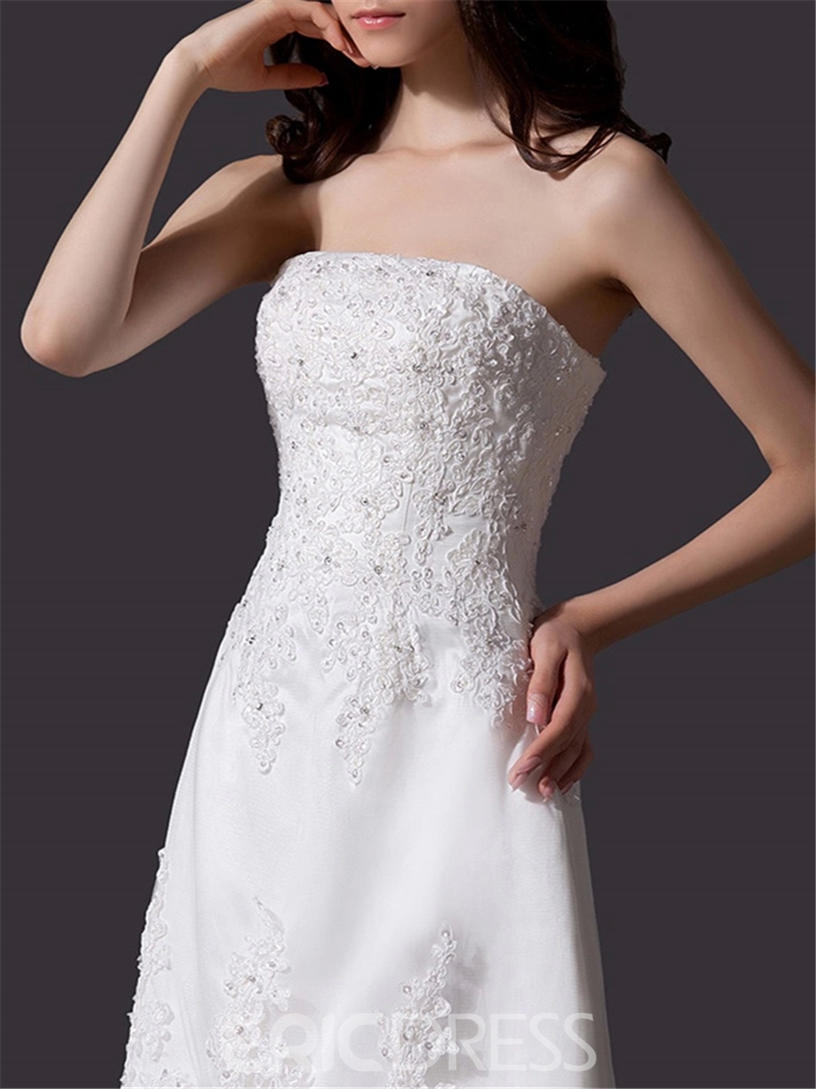 Beautiful Strapless Asymmetry Appliques Wedding Dress