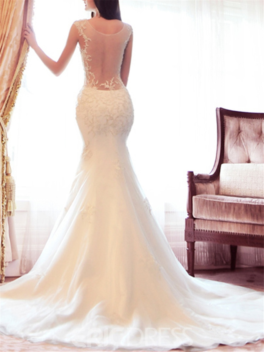 Sexy Floor-length Jewel Chapel Train Appliques Mermaid Wedding Dress