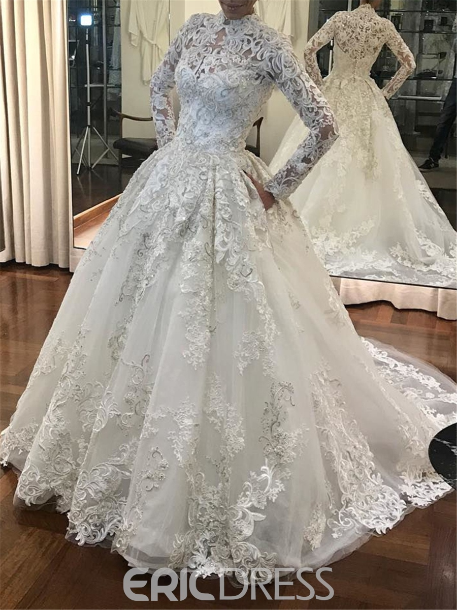 Ericdress Vintage High Neck Ball Gown Long Sleeves Wedding Dress