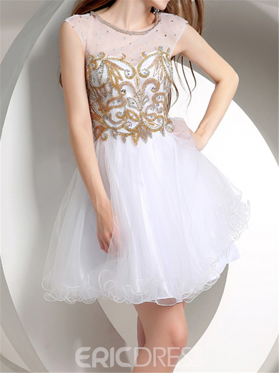 eb6b237b067 Ericdress Shiny A-Line Short Mini Length Junior Prom Dress 11283044 ...