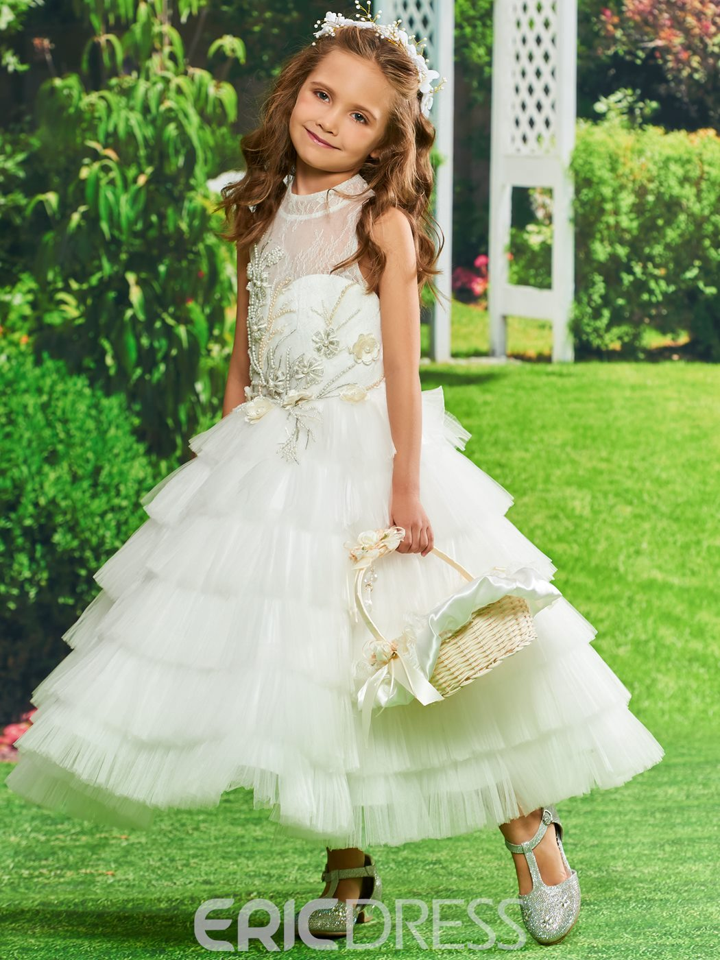 0bdc5ea16 Ericdress Appliques Tulle Ball Gown Flower Girl Dress 13142118 ...