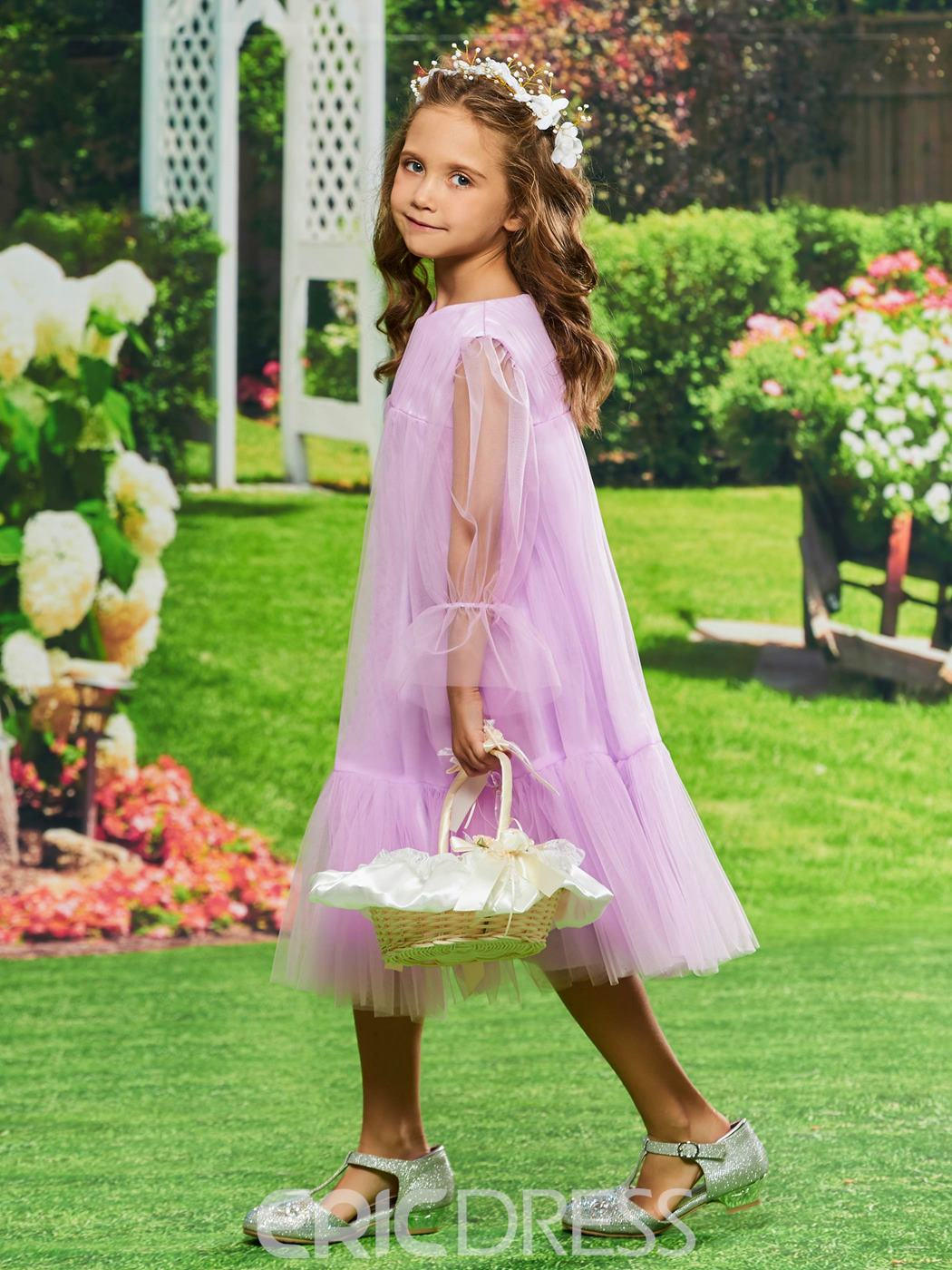 Ericdress A Line Tulle Long Sleeves Flower Girl Dress