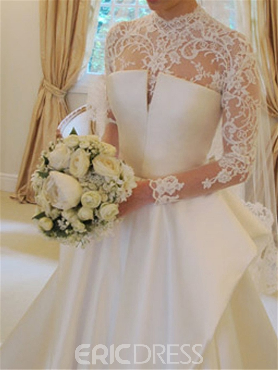 Ericdress Vintage Ball Gown Lace Long Sleeves Matte Satin Wedding Dress