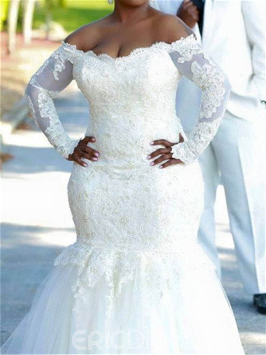 01531883e7 Ericdress Off The Shoulder Mermaid Plus Size Wedding Dress With Long ...