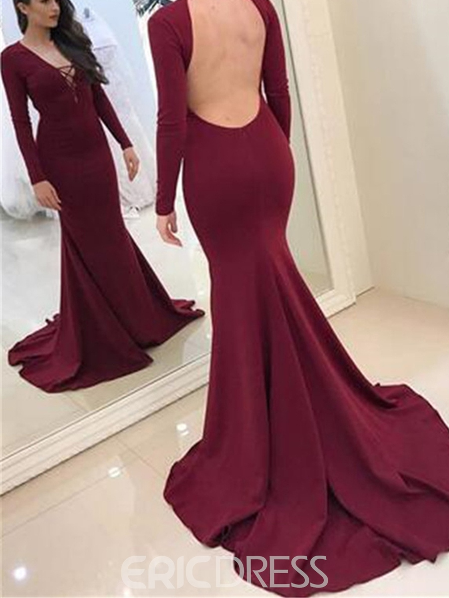 Ericdress Long Sleeve V Neck Backless Mermaid Evening Dress