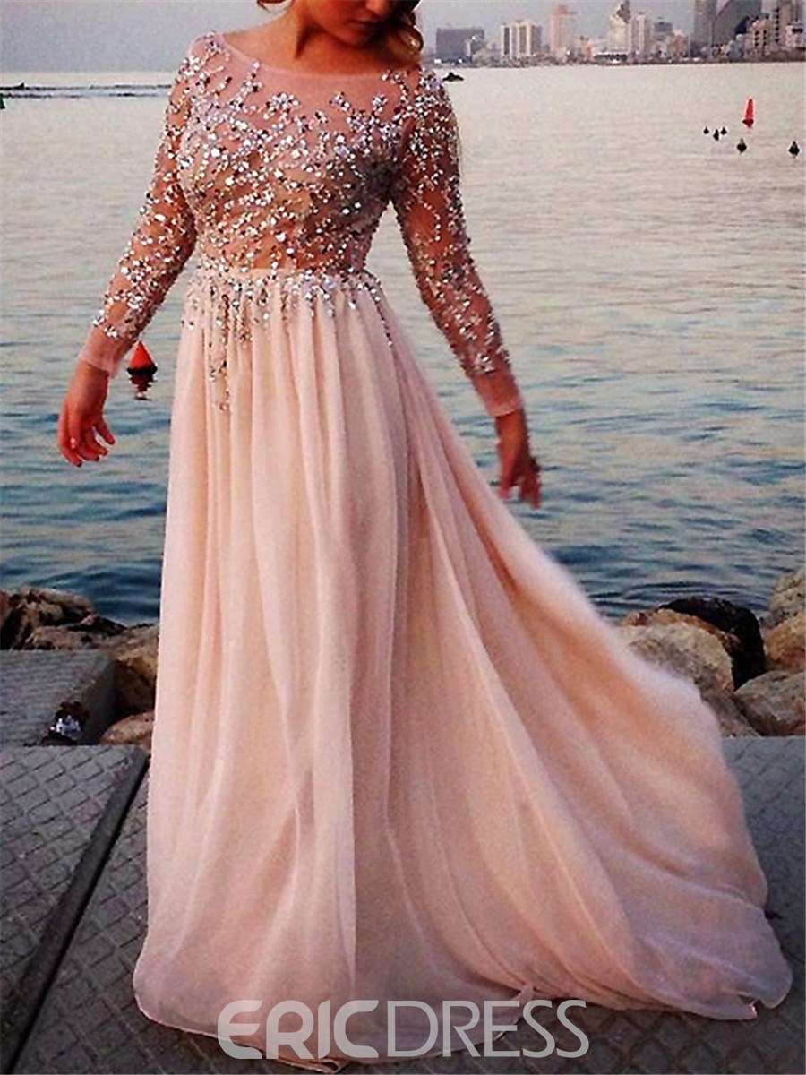 Long Sleeve Elegant Evening Dresses