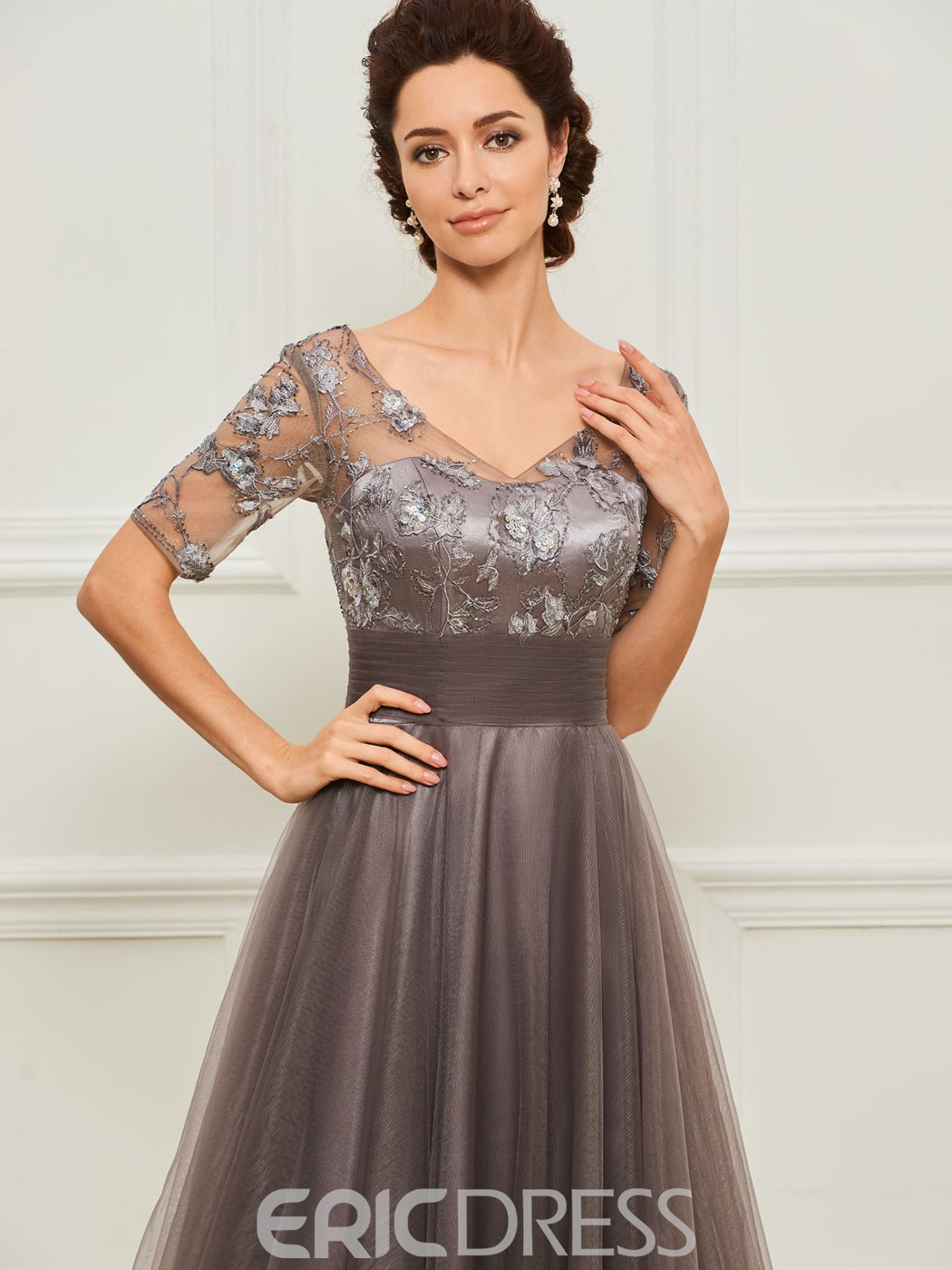 Ericdress Short Sleeves Appliques Mother of the Bride Dress