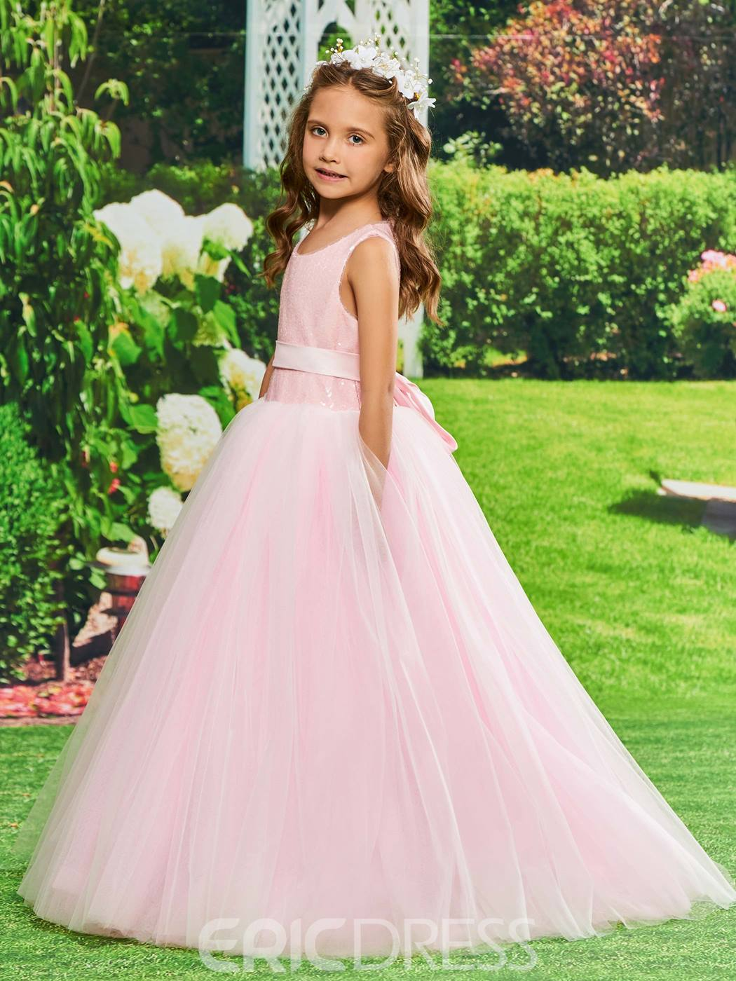 Ericdress Ball Gown Tulle Sequins Flower Girl Dress