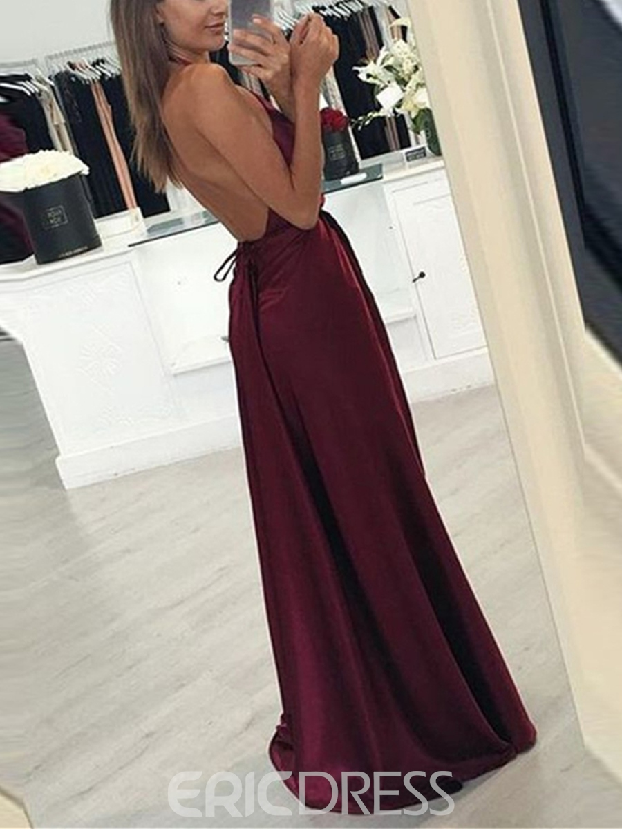 Ericdress A Line Halter Backless Long Evening Dress