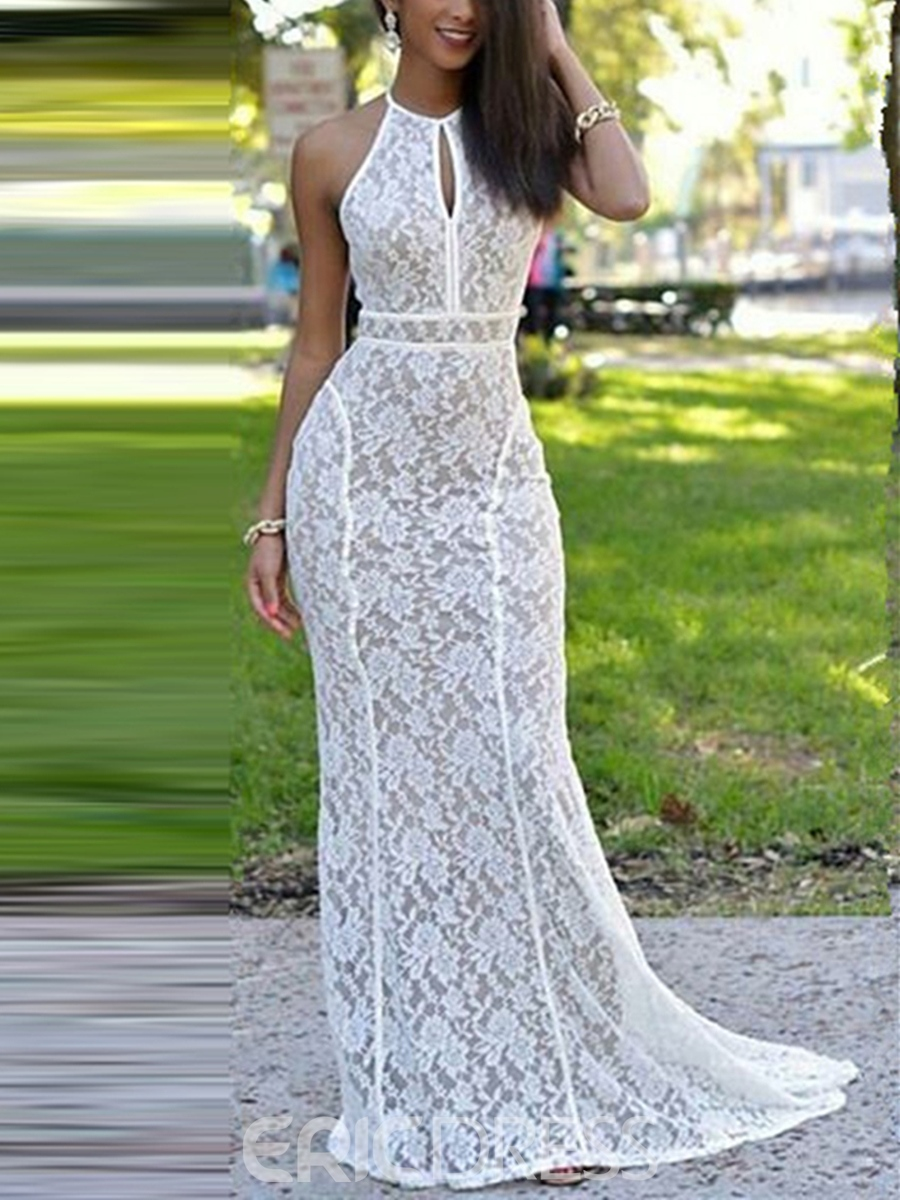 Ericdress Halter Lace Sweep Train Backless Long Mermaid Evening Dress