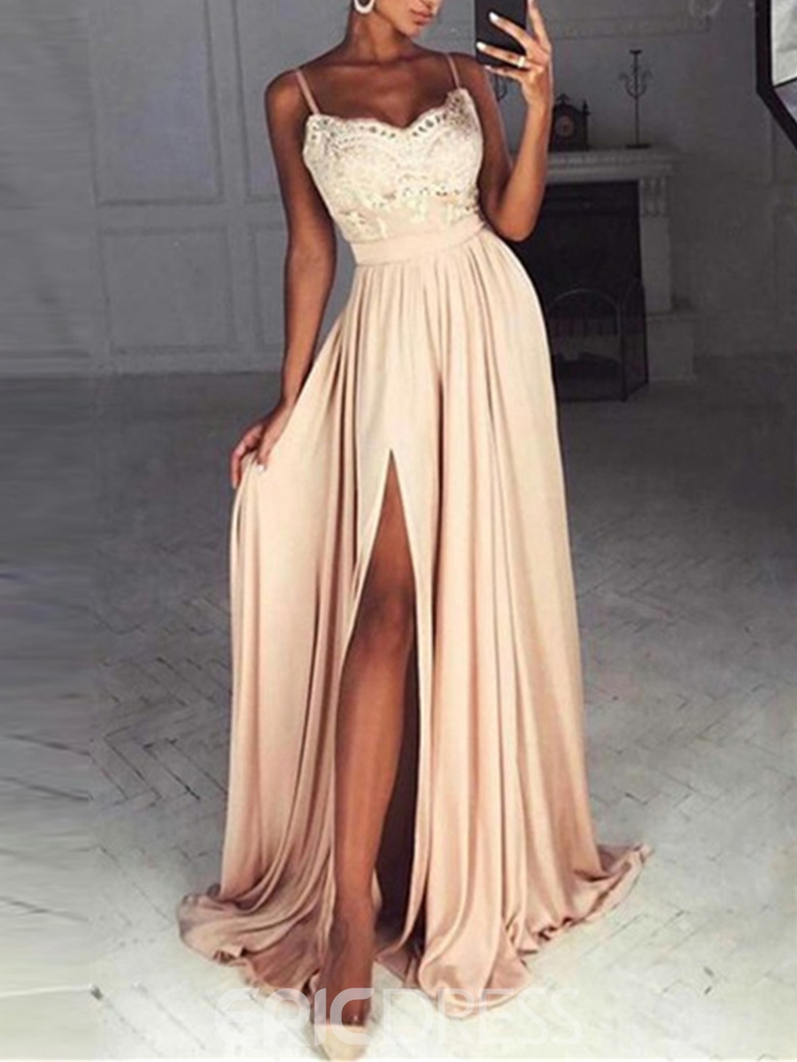 Ericdress Spaghetti Straps Lace Sashes Evening Dress