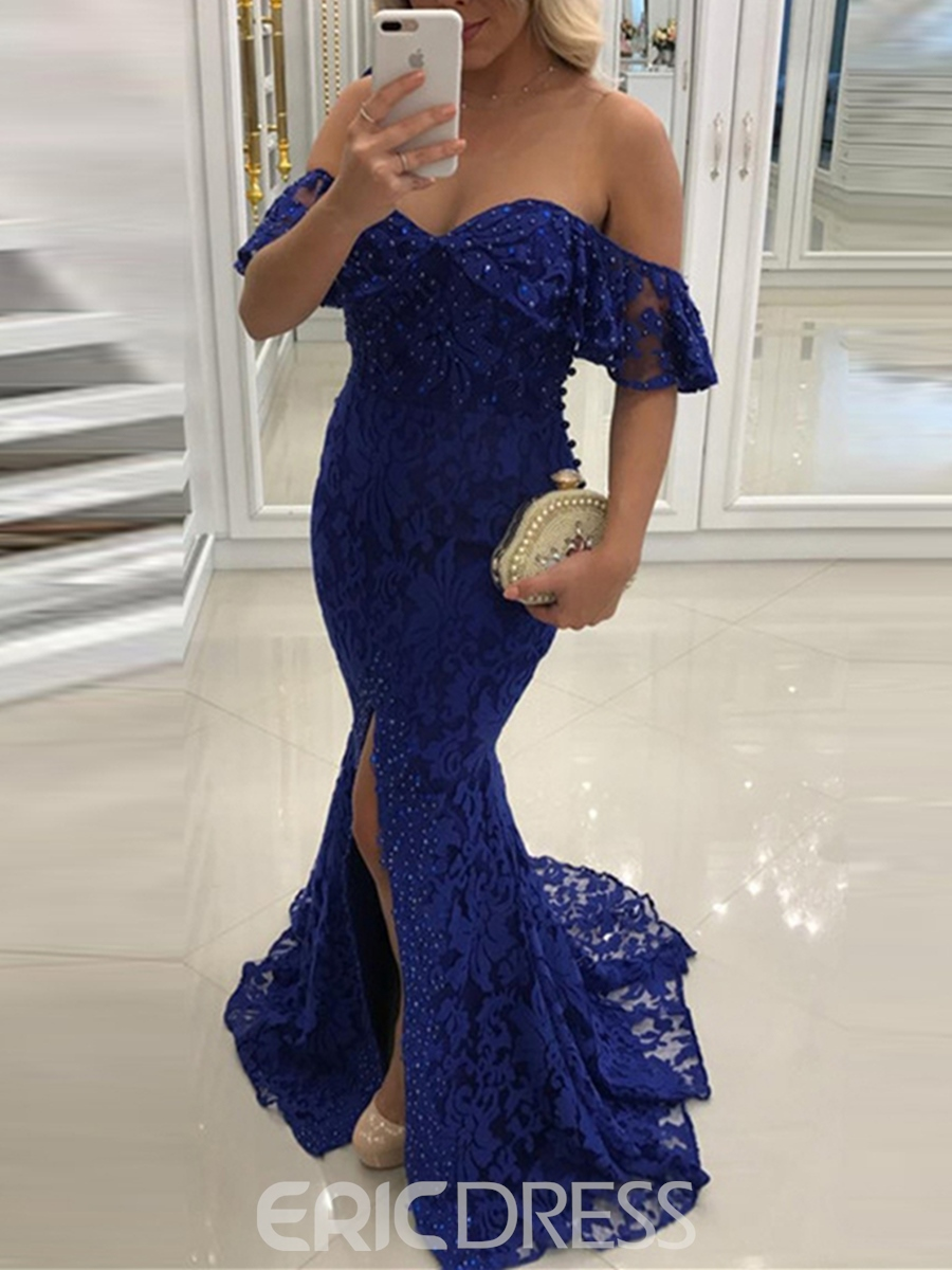 Ericdress Off The Shoulder Beaded Lace Mermaid Evening Dress