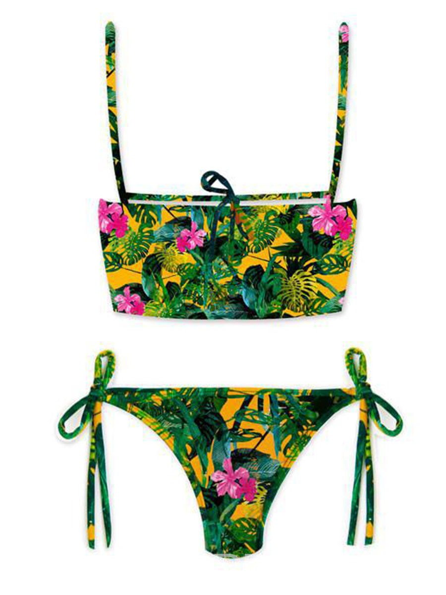Ericdress Floral Print Lace-Up Bikini Set