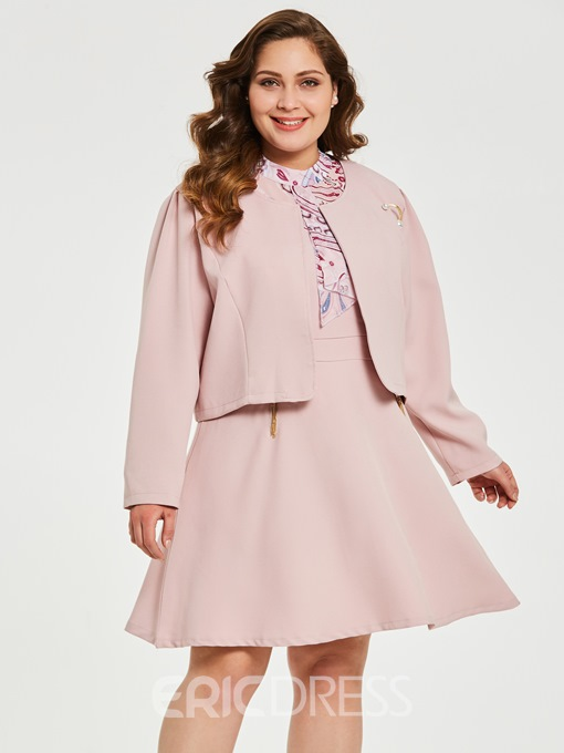 Ericdress Plus Size Floral Patchwork Jacket And Dress Two Piece Sets