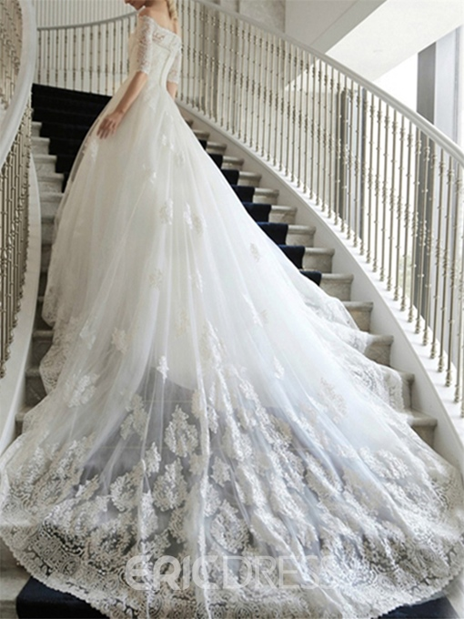 Luxurious Cathedral Off the Shoulder Short Sleeves Lace Wedding Dress