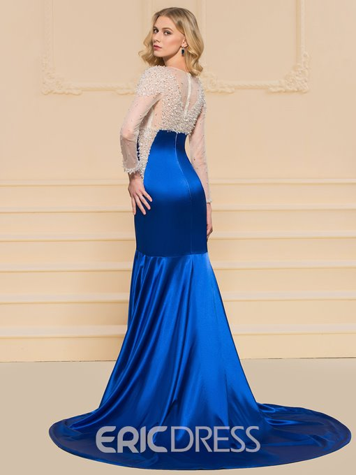 Ericdress Long Sleeve Beaded Mermaid Evening Dress With Train