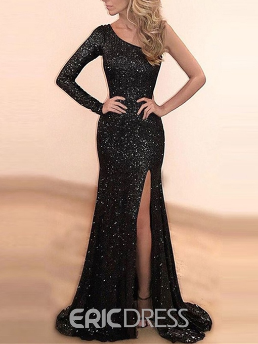 Ericdress One Sleeve Mermaid Sequins Evening Dress With Slit